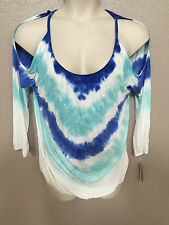 INC Women's Plus 0X NEW Blue/White Tie Dye Sequin Scoop Neck Cold Shoulder Top