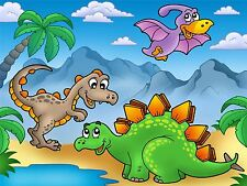 ART PRINT POSTER NURSERY DINOSAUR FRIENDS PALS KIDS BEDROOM LFMP0779