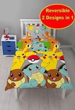 "NEW POKEMON GO ""CATCH"" SINGLE DUVET QUILT COVER SET BOYS GIRLS KIDS PIKACHU BED"