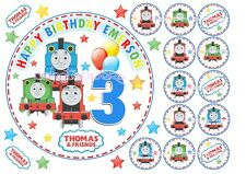 "EDIBLE Personalised THOMAS THE TANK & FRIENDS 7"" Cake topper+12 x Cupcakes"