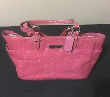 "Coach F19462 Gallery Pink Embossed Patent Leather Tote/Purse/Bag 14"" x 9"""