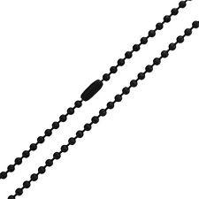 GRANDE CHAINE COLLIER POUR HOMME ADO FEMME ACIER NEUVE 60 CM BOULE NOIR 2,4 MM