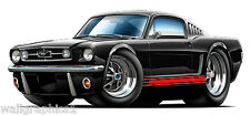 1965 Ford Mustang 289 Fastback Cartoon Cars Wall Graphic Decal Vinyl Man Cave