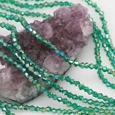 118 pcs 4mm Chinese Crystal Glass Beads Bicone Peacock Green AB