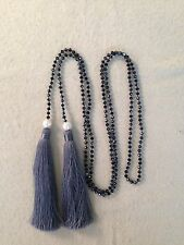 Black Glass Crystal Beads Fresh Water PEARL BEADED LARIAT Necklace Grey Tassel