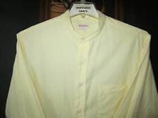 LARGE 16.5-34/35 SOLID YELLOW SOFT COTTON MERONA BANDED COLLARLESS WESTERN SHIRT