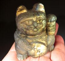 "2.15"" Nice Golden Blue Flash Labradorite Crystal Lucky Money Cat Gemstone"