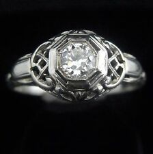 Art Deco Old European Cut Diamond 18k White Gold Ring Engagement Promise Vintage