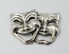 VTG STERLING SILVER BEAU COMEDY TRAGEDY MASKS PIN BROOCH THEATRICAL RARE SIGNED