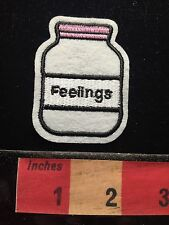 FUNNY FUNKY QUIRKY Appliqué Style Patch BOTTLE UP FEELINGS ~ Pill Bottle 68WI