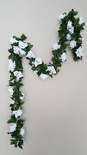 6ft white rose garland silk flower wedding home office
