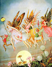 Fairy Girls Moon Flowers Vintage art