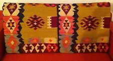 """2 Pottery Barn 20"""" Square Woven Southwestern Pillow Covers Wool Cotton PB"""