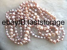 """wholesale  freshwater pearl purple  baroque 6-8mm necklace 60"""" nature beads"""