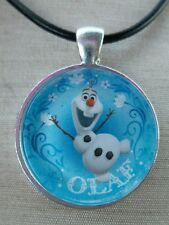 ** OLAF Snowflakes ** Disney's Frozen. Glass Pendant with Leather Necklace