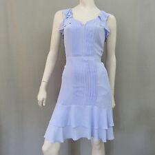 Banana Republic Dress 4 Blue Ruffle Pin Tuck Pleat New