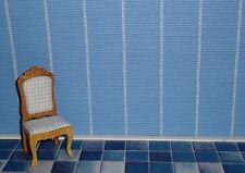 Tapete für´s Puppenhaus, Blau mit Streifen, Wallpaper, Puppenstube  (#Blau01)