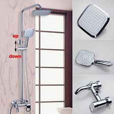 "Chrome Bath Shower Faucet Set Mixer Tap 8"" Rain Shower Head + Hand Sprayer"