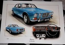 JAGUAR XJ6 4.2 L LITRE SALOON BLUE PAINTING LIMITED EDITION PRINT ARTWORK NEW