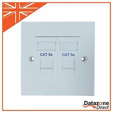 Single Gang Wall Plate including 2 Cat5e Modules Data Outlets RJ45 Lan Network