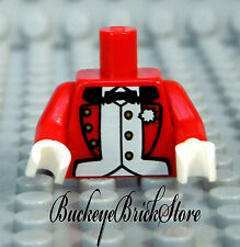 NEW Lego Minifig RED JACKET TORSO Formal Suit Coat with Bow Tie & White Hands