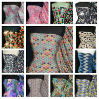 Printed Silk/ Soft Touch 4 Way Stretch Lycra Fabric Material