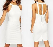 Paper Dolls Petite Exposed Back Pencil Dress Cream UK 8 US 4 EUR 36 (CA939)
