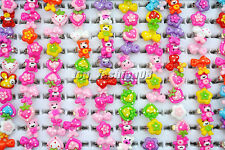 Wholesale Mixed Lots 10Pcs Cartoon Resin Lucite Children Rings Jewelry 13mm FREE