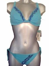 Blue Sequin Underwired Bikini Set UK 14 No Padding Cups Tie Side Bottoms New