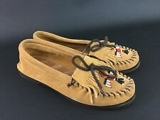 Minnetonka Thunderbird Beaded Brown Suede Moccasins, Ladies Size 8 7.5