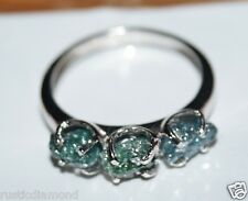 Natural Green Blue Diamond Rough Diamond Ring Raw Diamond Ring .925 silver *Nr00