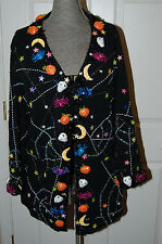 Design Options by Philip & Jane Gordon Size M Womens Halloween Sweater Cardigan