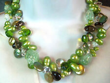 Beautiful Cultured Green Pearl Rock Crystal Peridot Layered Necklace Honora?