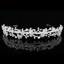 Handmade Floral Bridal Headpiece Rhinestone Crystal Wedding Tiara Headband V880