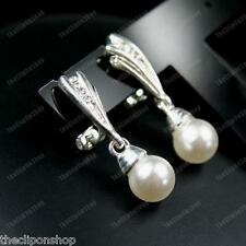 CLIP ON EARRINGS comfy PEARL&CRYSTAL rhinestone diamante silver wings ELEGANT