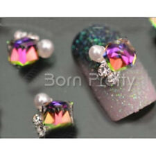 2Pcs/Set 3D Crystal Flower Nail Studs Pearl DIY Nail Art Decoration For UV Gel