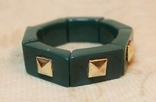Vintage Art Deco Bracelet Chunky Bangle Green Brass Pyramid Inset