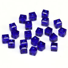 10pcs deep blue 8mm Faceted Square Cube Cut glass crystal Spacer beads.