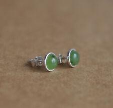925 Sterling silver stud earrings with natural Jade Nephrite gemstones