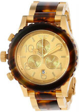 Nixon Unisex 42-20 A0371424 Chronograph Gold and Molasses Watch Ret.$550