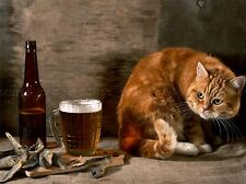 GINGER CAT FISH AND BEER LAGER PHOTO ART PRINT POSTER PICTURE BMP636A