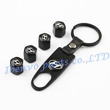 Key chain Metal Black Car Wheel Tyre Tire Stem Air Valve Cap For Hyundai Vehicle