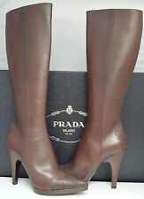 Prada Brown Knee High Classic Boots/Shoes (size UK 6.5, EU 39.5 US 9.5)