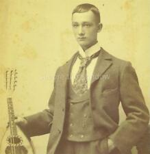 CABINET CARD PHOTO: Fetching YOUNG English Victorian MUSICIAN w MANDOLIN ID'd
