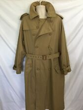 Ralph Lauren Polo Trench Coat Plaid Liner Khaki Belted Men's 40L