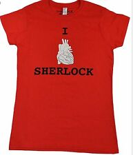 Sherlock Bbc Red Official Ladies Tshirt I Heart Sherlock New Sixe Xl / 12-14