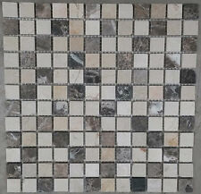 Mosaic Marble Stone Tiles Floor Wall Brown / Cream Mix Bathroom 30x30 cm 8mm NEW
