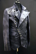 Mens Vintage Distressed Fitted Biker Military Leather Jacket Celebrity Favourite
