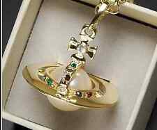 Vivienne Westwood Gold color large stereoscopic pearl Saturn necklace Box+Bag%%%