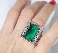 DELIGHTFUL! TURKISH HANDMADE EMERALD TOPAZ STERLING SILVER 925K RING SIZE 8
